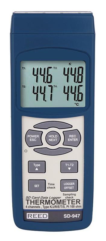 Termometro Ambiente Termopar Con Datalogger Reed Sd 947 Raig Un termopar (llamado también termocupla por traducción del término inglés thermocouple) es un transductor formado por la unión de dos metales distintos que produce una diferencia de potencial muy pequeña (del orden de los milivoltios). termometro ambiente termopar con datalogger reed sd 947