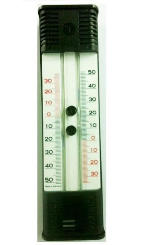 Svart plastkvicksilver Maximal Minimum termometer